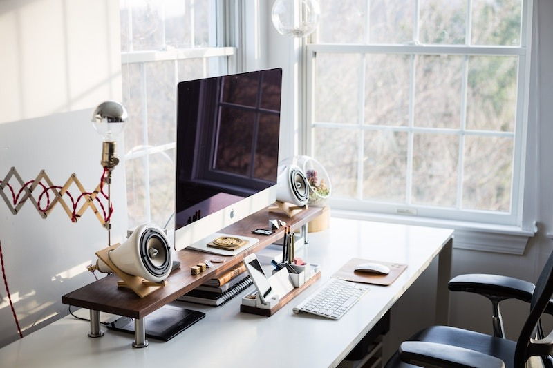 Office desk by the window
