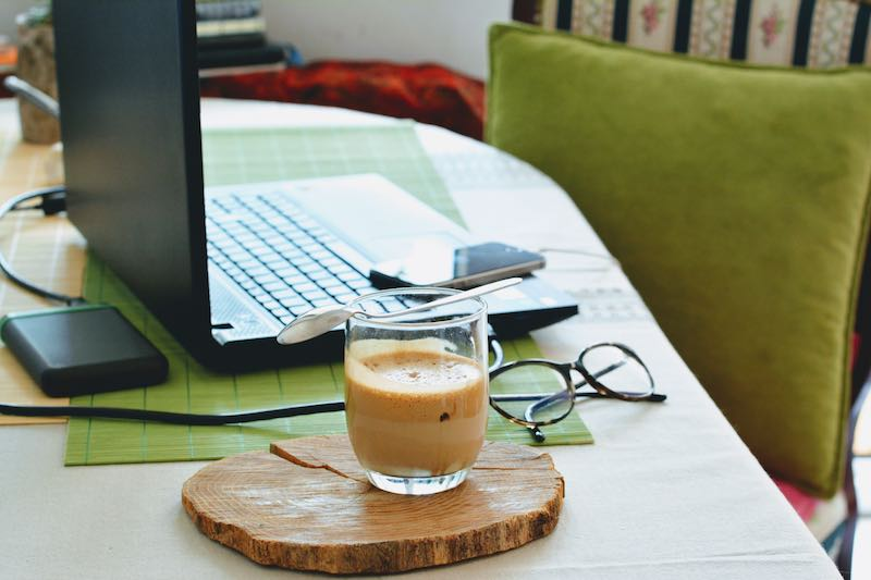Work from home and drink coffee