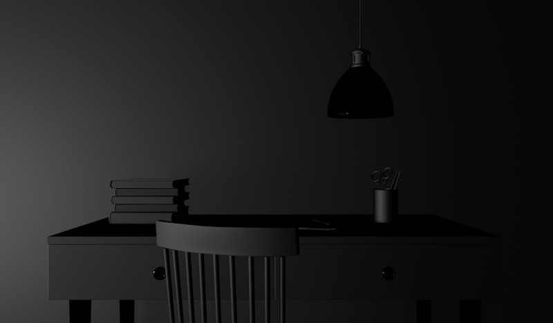 Matte Black Minimal Office Design